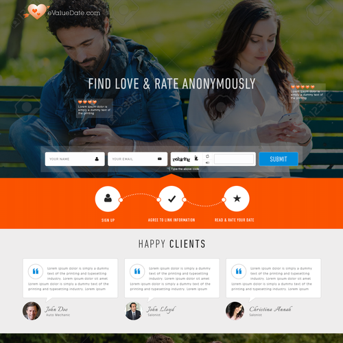 landing page for a dating site