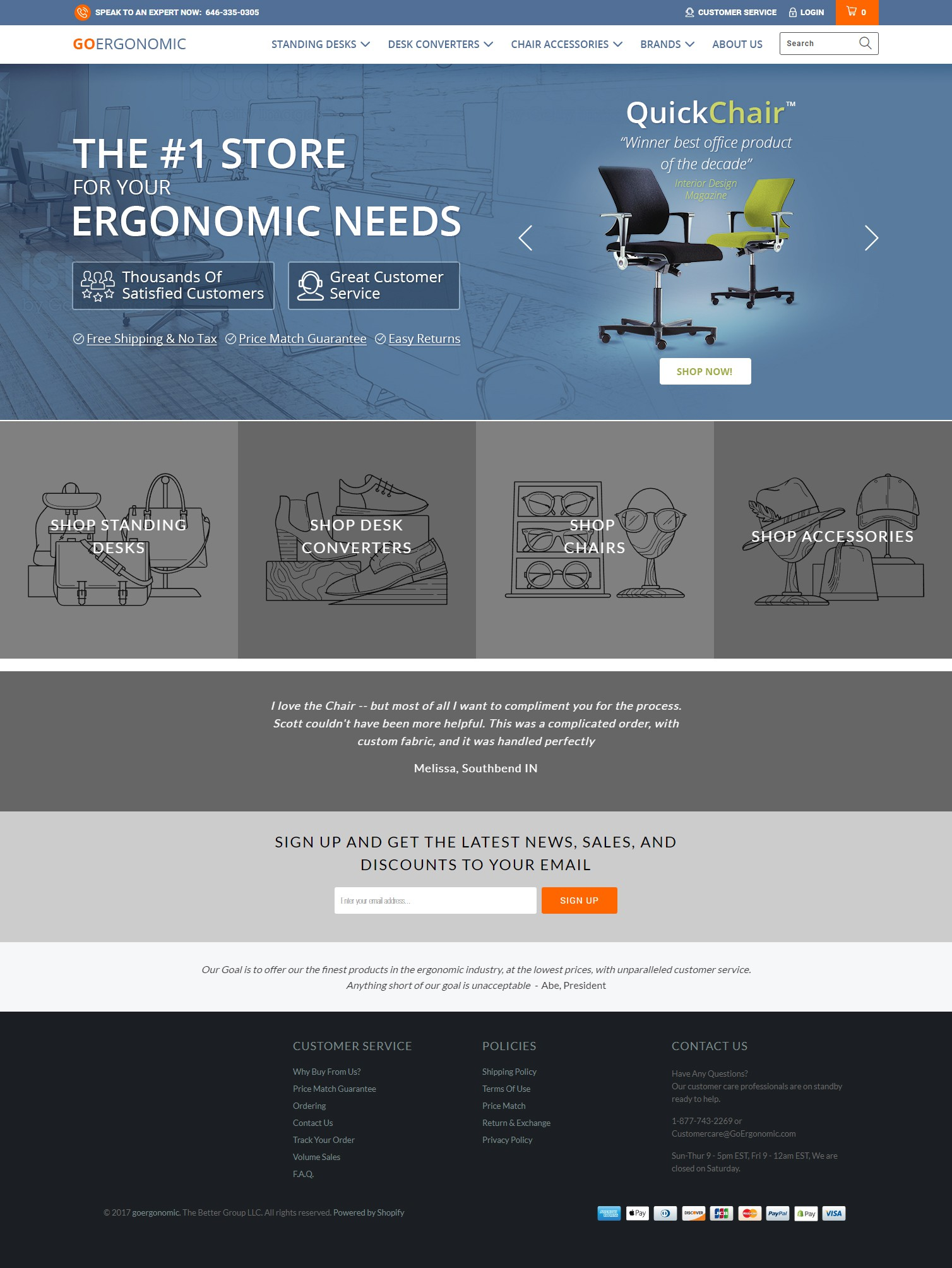 Create a top of the line homepage Banner for GoErgonomic.com