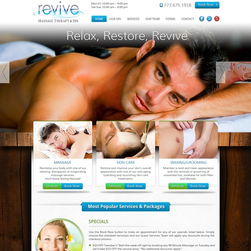 Modern/Sleek Website design for Revive Massage Therapy & Spa