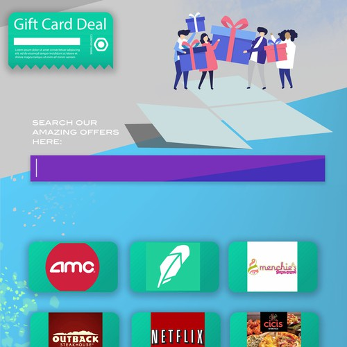 Page design for a Gift Cards' Website