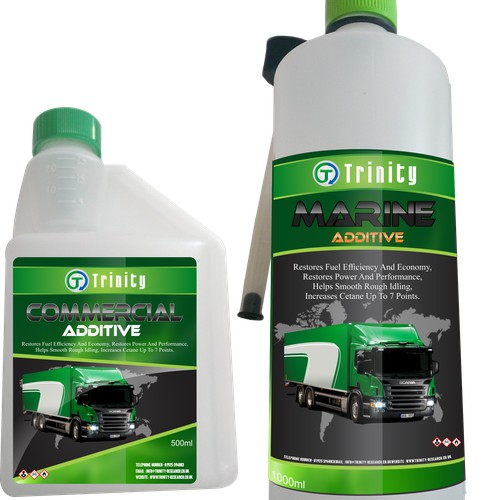 Designing an eye catching fuel addatives label portraying corporate image.