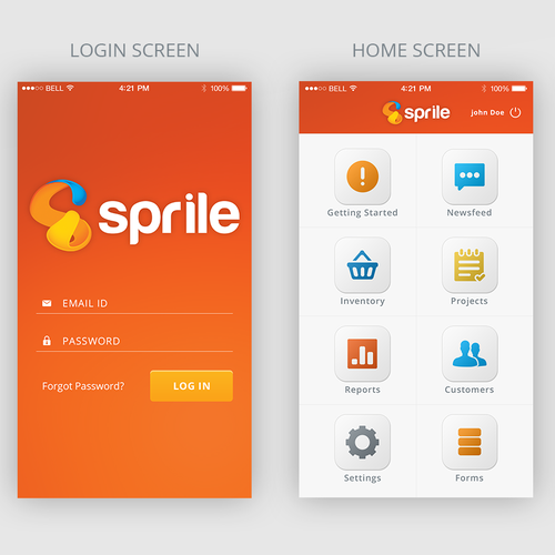 Mobile application UI design