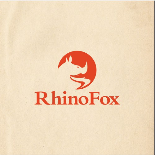 Negative space logo for Rhinofox