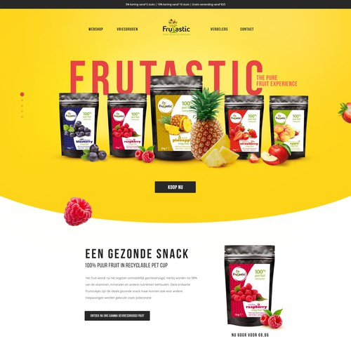 Freeze-dried fruits: creative, playful, healthy & colorful landing page