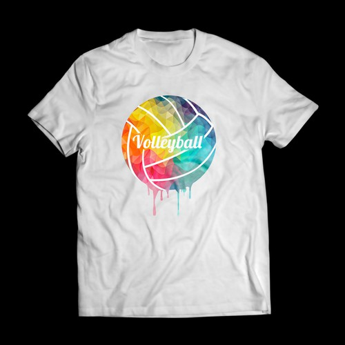 Design a tshirt with bright paint colors and negative space wording.