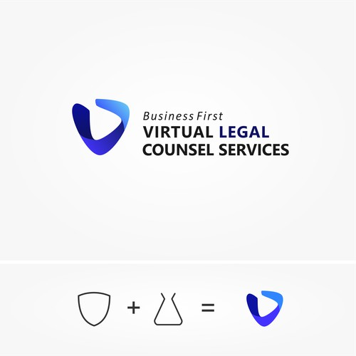 A powerful logo design for a virtual law firm in the pharmaceuticals and health sector