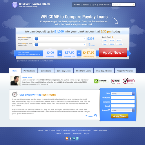 Create the next website design for Compare Payday Loans