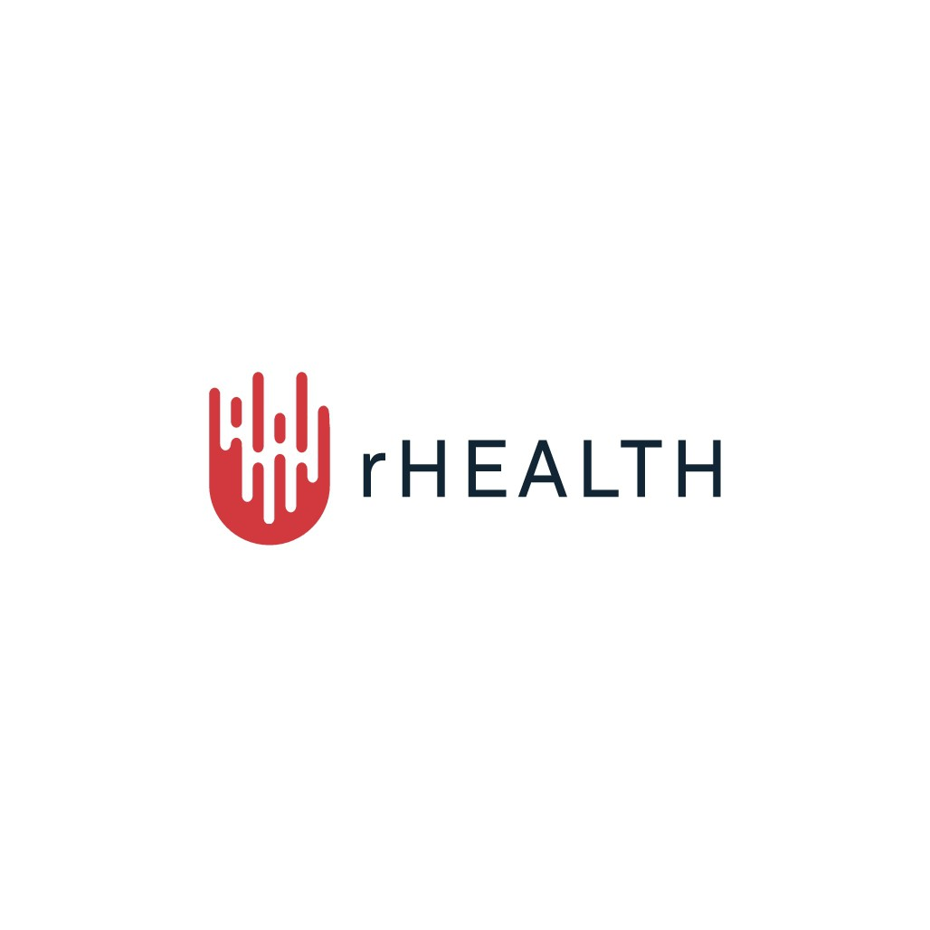 Create an iconic logo for rHEALTH, a biotechnology company.