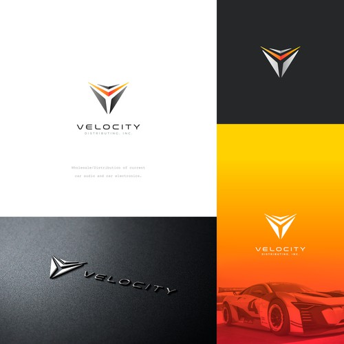 Design a sleek, sophisticated, and modern logo for Velocity Distributing, Inc.