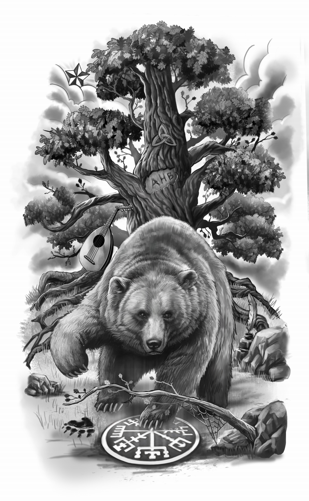 Half sleeve Grizzly Bear design