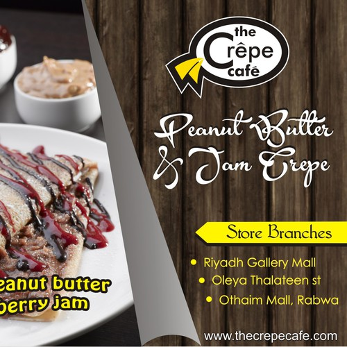 "Design for promotional crepe ""Peanut butter & Jam Crepe"""