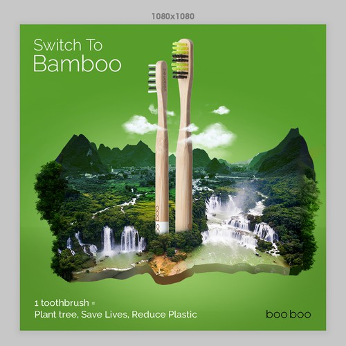 Bamboo  brush Creative poster
