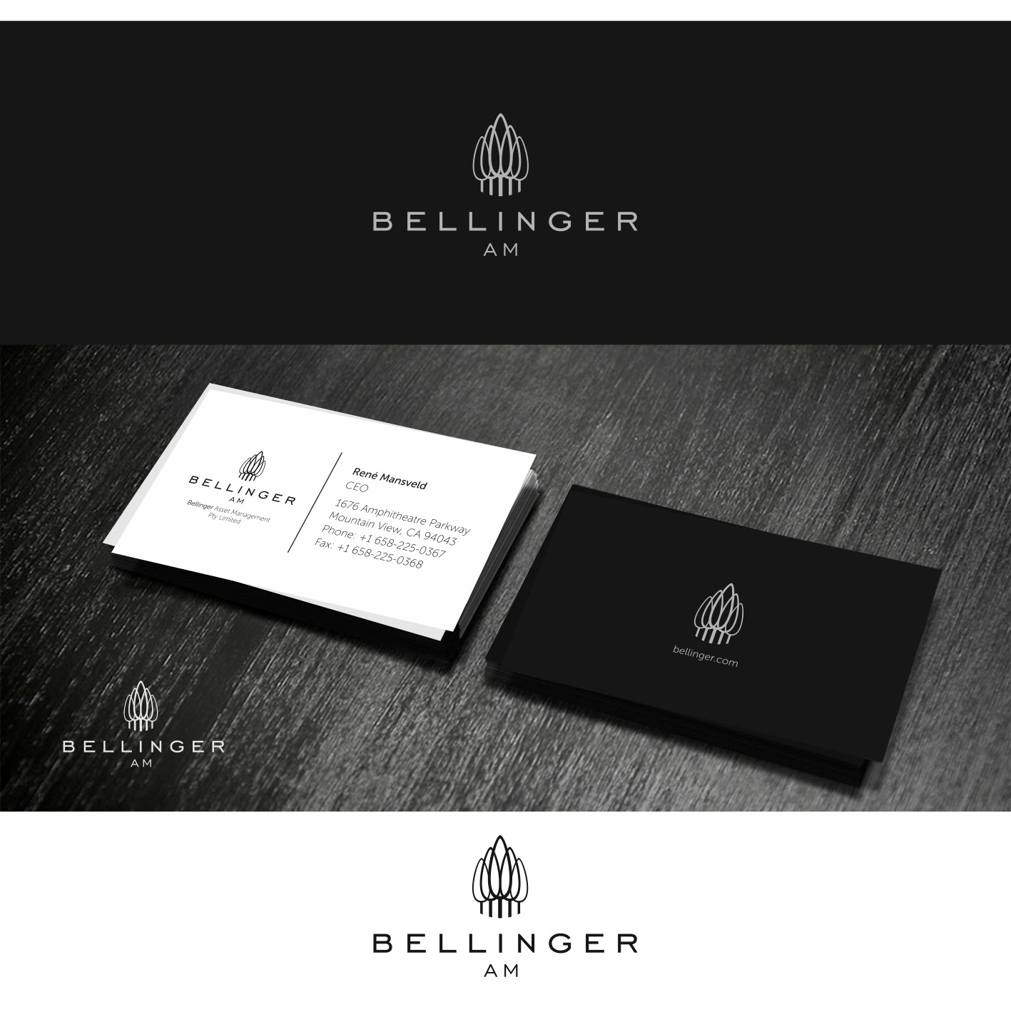 Create the next logo and business card for Bellinger AM.