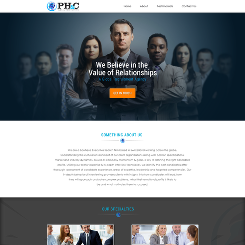 Create a fast and furious headhunting page geared to start up high tech industry