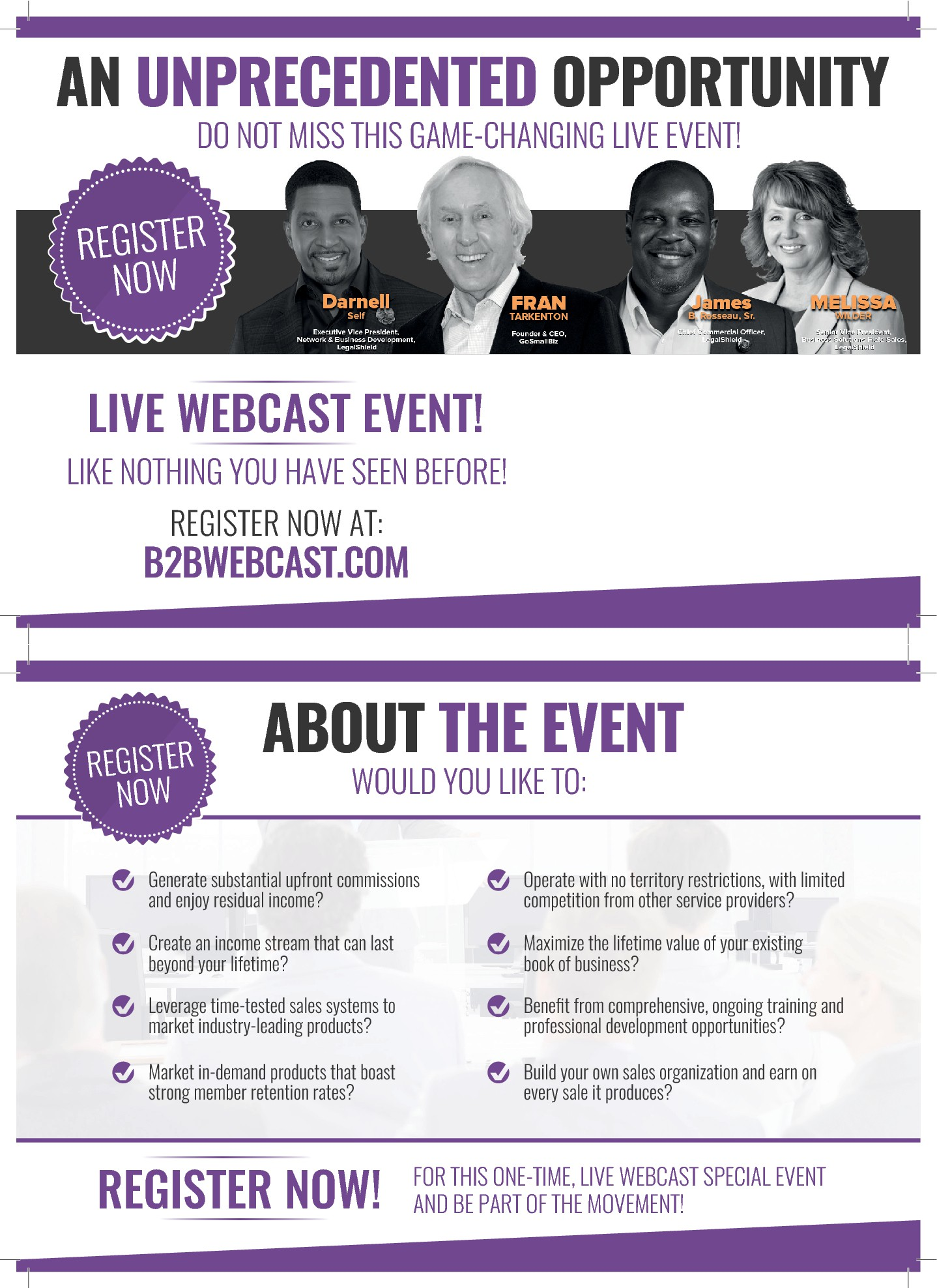 Attention-grabbing, excitement-generating postcard for a powerful live webcast event!