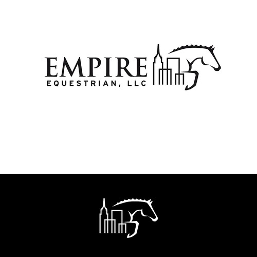 Equestrian logo with NYC skyline