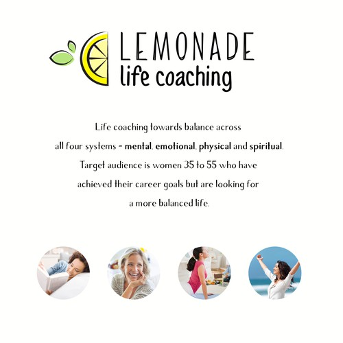 Create a super lemony logo for Lemonade Life Coaching