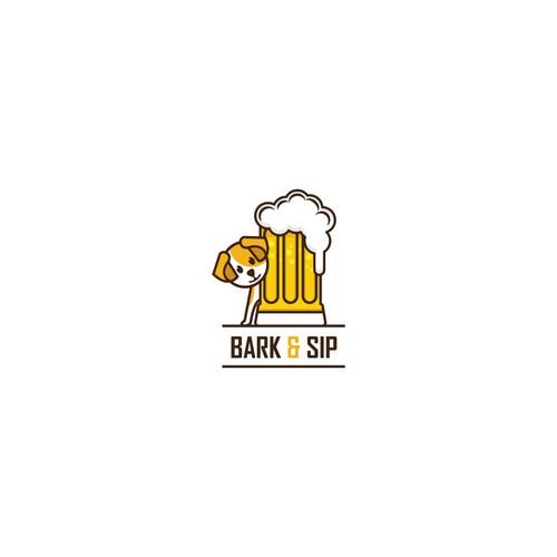 Modern logo for Bark and Sip