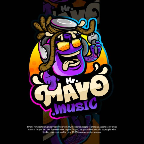 Cool and hip hop inspired cartoon mascot for Mr. Mayo music