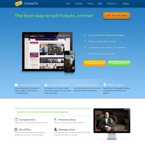 SimpleTix eTicketing app - needs a new website design