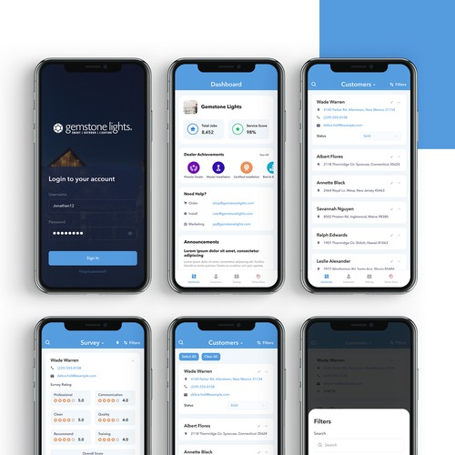 Mobile app design screens