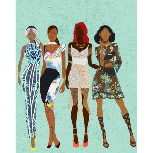 Black Woman and Friends Illustration