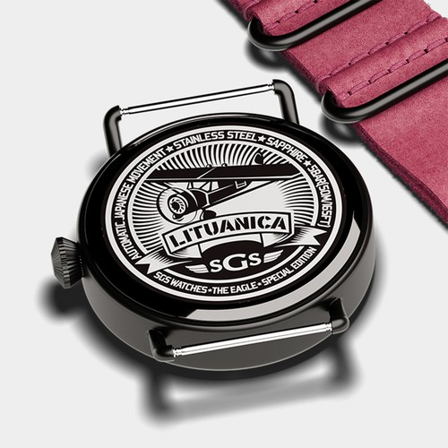 Lituanica engravement on SGS Watches back plate