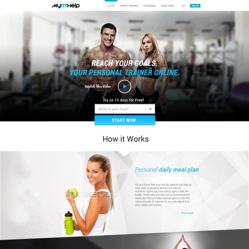 Create design for Fitness themed website.