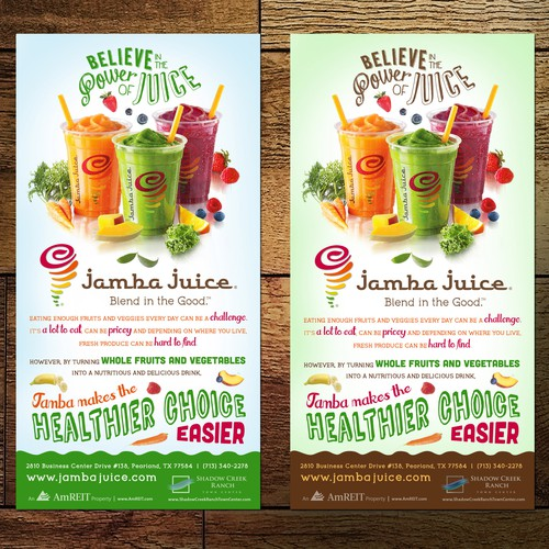 Ad flyer for Juice Store