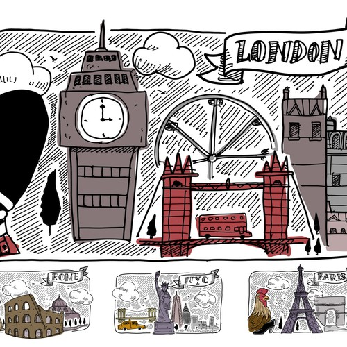 Create city themed graphics: London, Paris, Rome, and NYC for Tablet and Mobile cases