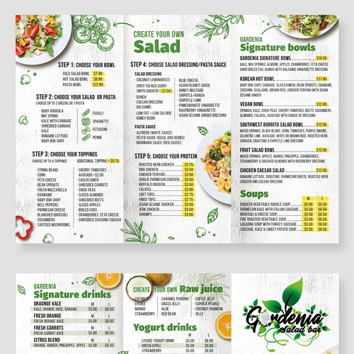 Menu design for Gardenia Salad bar