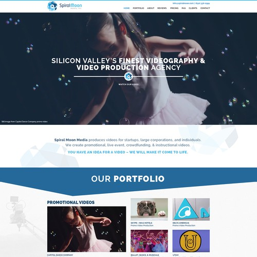 Create an imaginative, elegant, BOLD website for Spiral Moon Media