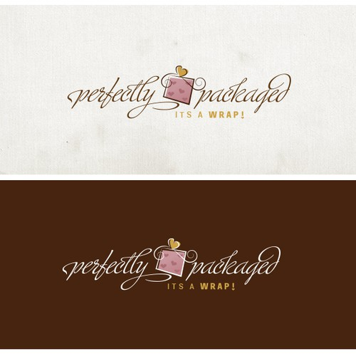Create a catchy whimsical logo for a gift wrapping company