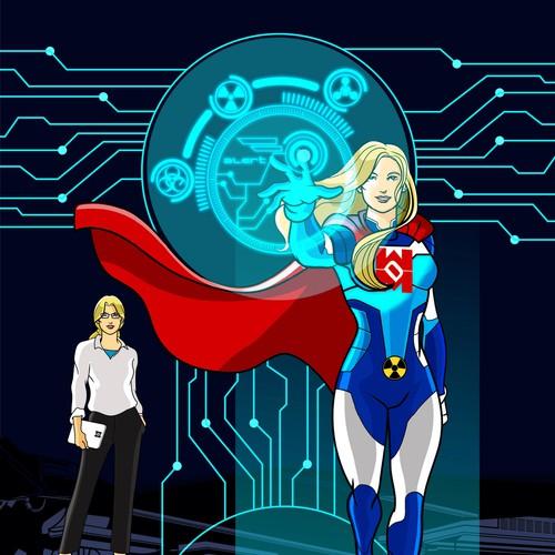 Design a superhero named WMD Girl (weapons of mass destruction)