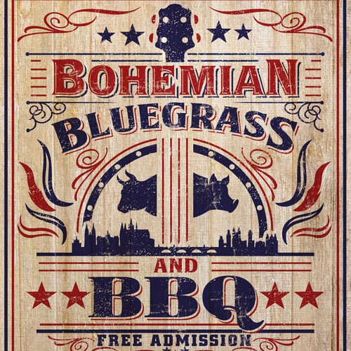 vintage Americana flyer for a BBQ/Bluegrass festival in Prague