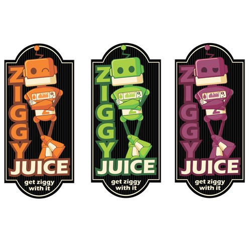 create a fun memorable character to be the face of Ziggy Juice a liquid nicotine brand for e-cigs.
