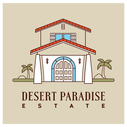 Mid-Century Modern Vacation Property Logo Concept