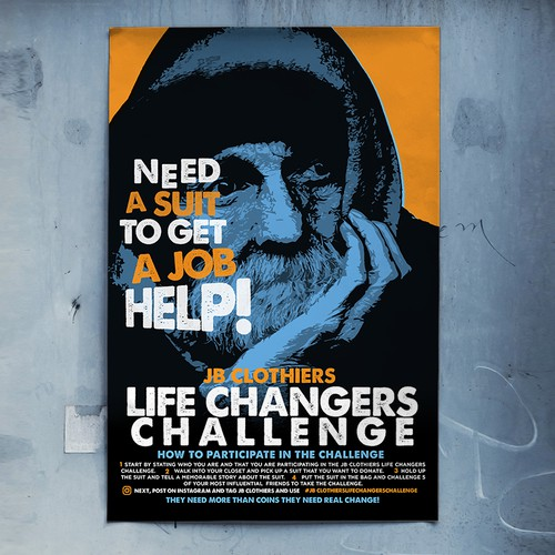 Poster Design for JB Clothiers Life Changers Challenge - Dress The Homeless Campaign