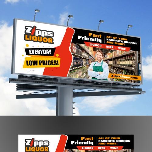 Zipps Liquor Billboard Design