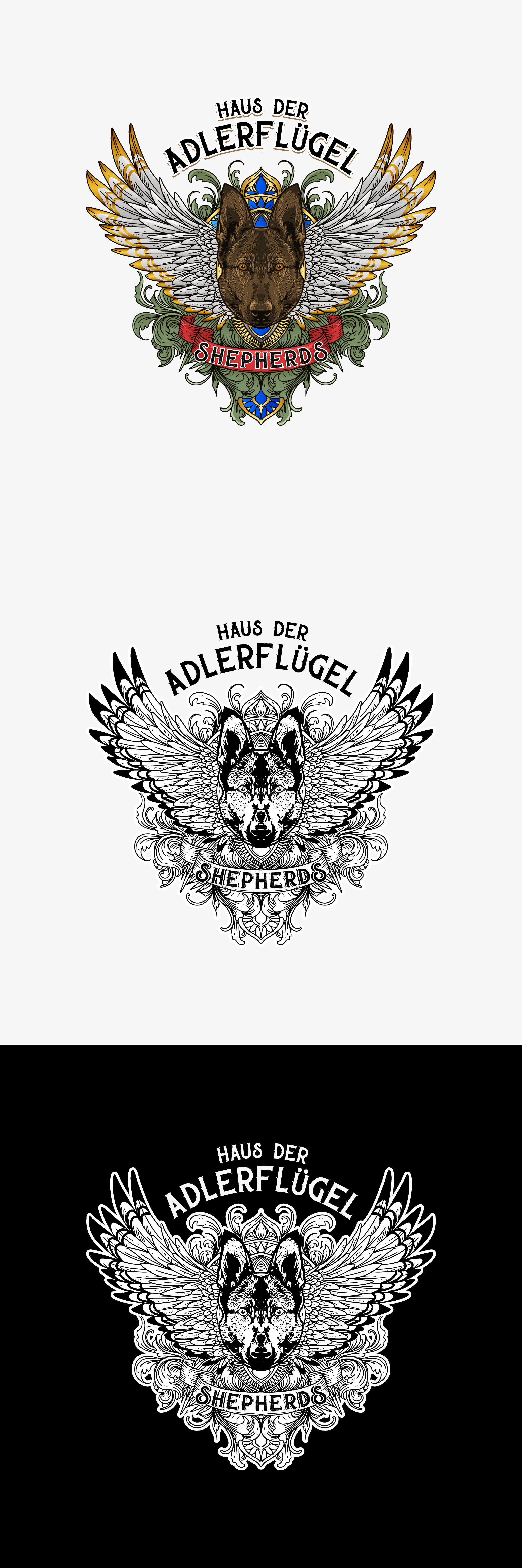 Design a creative, one of a kind, fierce, bad*** logo for a German Shepherd dog breeder
