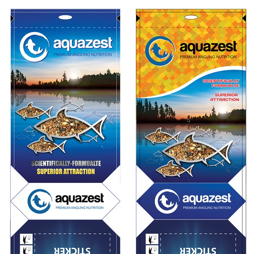 Create a unique packaging design for Aquazest angling baits
