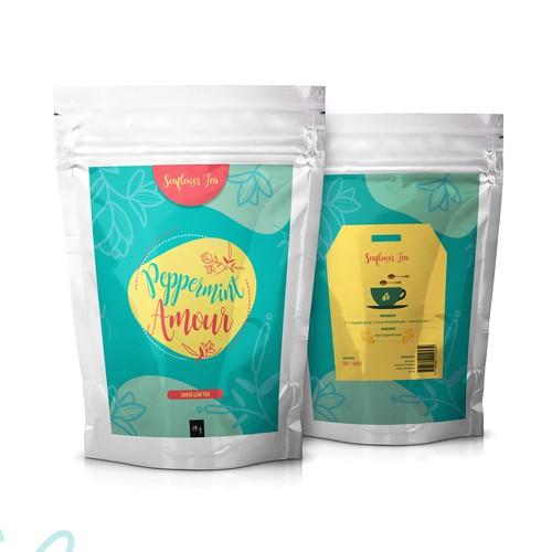 Fun Bright Label Design For Tea On Silver Pouch