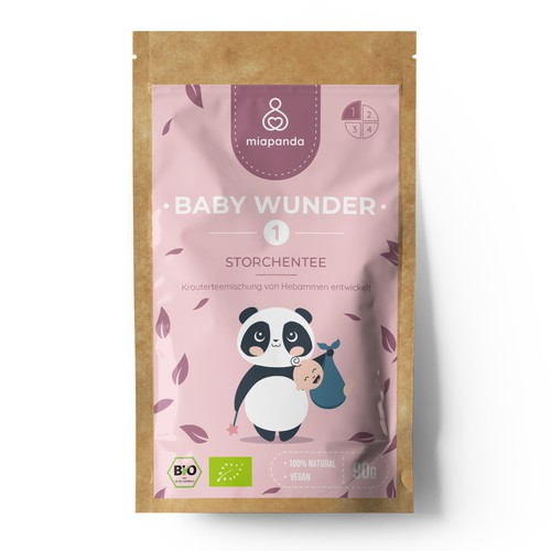 """Tea Label"" with a cute panda layout for woman"