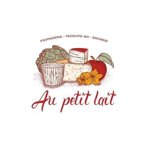 Hand drawn logo for cheese and organic product shop