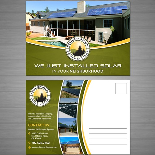 Create a postcard mailer to capture neighborhood referrals for a local Solar Company