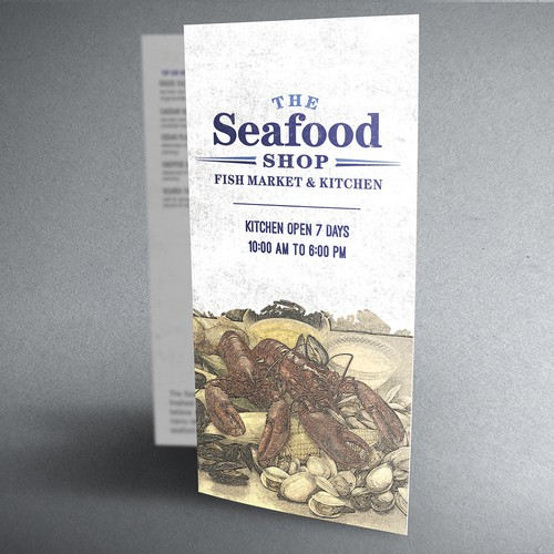 Create a New vintage styled takeout menu for The Seafood Shop Fish Market & Kitchen.