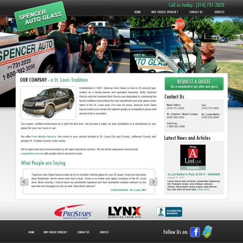 Auto Glass Company needs a new website design