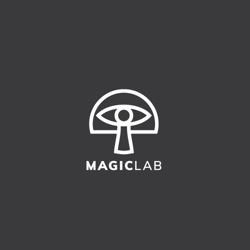 Magic and hypnotic mushroom and eye logo