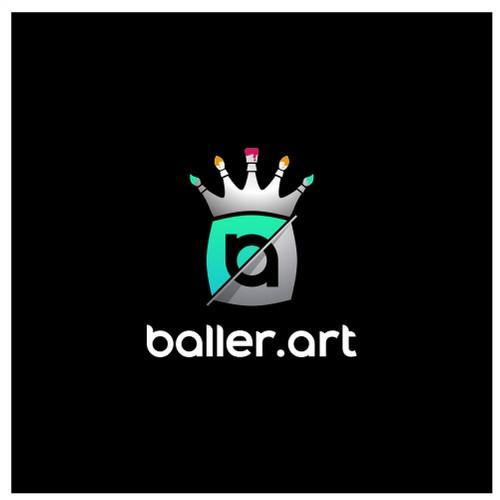 beautiful logo for Baller.art, a digital art studio built on blockchain
