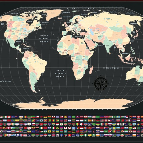 Design a world scratch map for a top brand